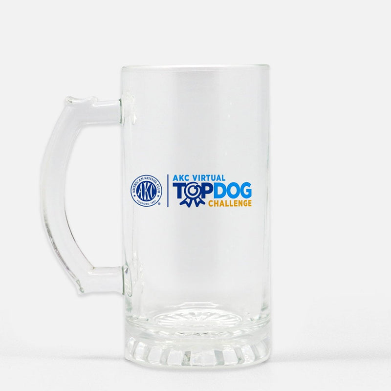 AKC Virtual Top Dog Challenge Glass Beer Stein