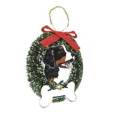 Bernese Mountain Dog Wreath and Bone Ornament