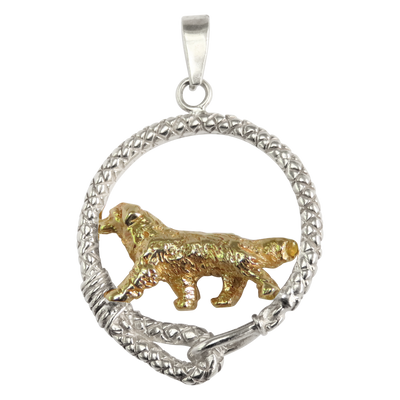 Solid 14K Gold Bernese Mountain Dog in Sterling Silver Leash Pendant
