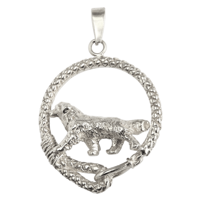 Bernese Mountain Dog in Solid Sterling Silver Leash Pendant