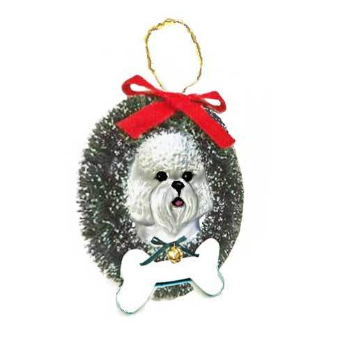 Bichon Frise Wreath and Bone Ornament