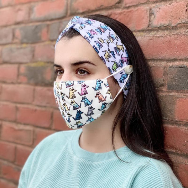 Groovy Teddy - Headband and Face Mask Bundle