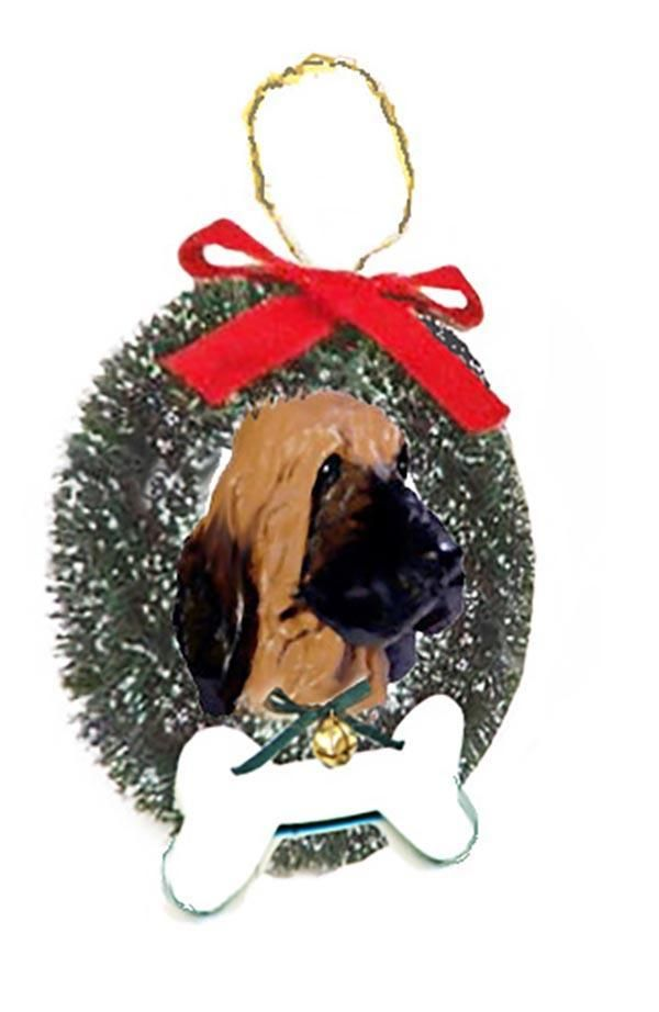 Bloodhound Wreath and Bone Ornament