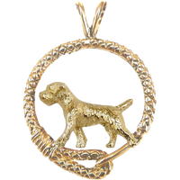 Solid 14K Gold Border Terrier Leash Pendant