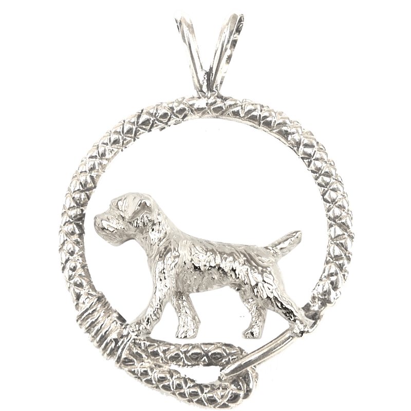 Border Terrier in Solid Sterling Silver Leash Pendant