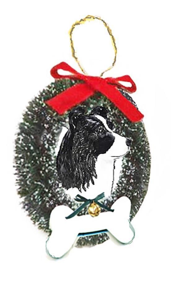 Border Collie Wreath and Bone Ornament