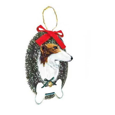Borzoi Wreath and Bone Ornament