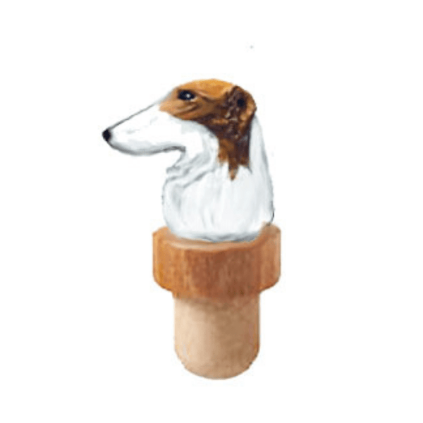 Borzoi Head Cork Bottle Stopper