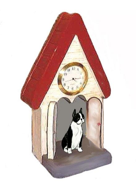 Boston Terrier Figurine Clock