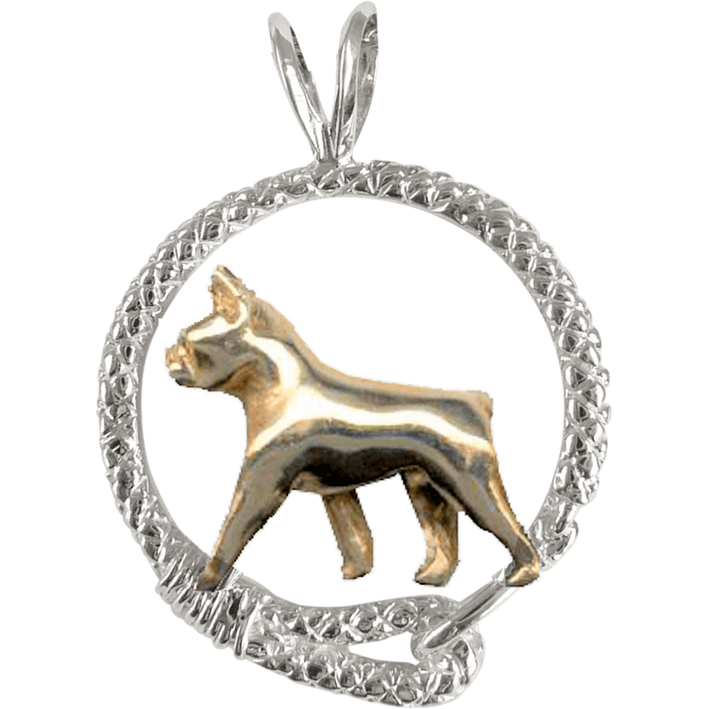 Solid 14K Gold Boston Terrier in Sterling Silver Leash Pendant