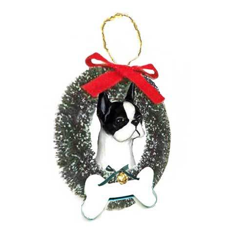 Boston Terrier Wreath and Bone Ornament