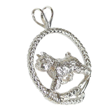 Bouvier des Flandres in Solid Sterling Silver Leash Pendant