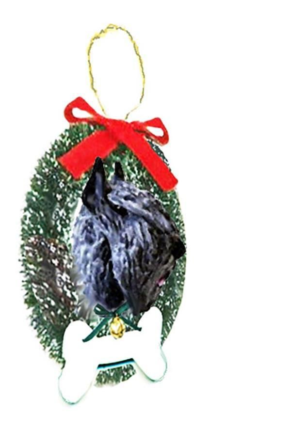 Bouvier des Flandres Wreath and Bone Ornament