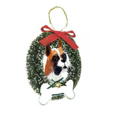 Boxer Wreath and Bone Ornament