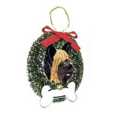 Briard Wreath and Bone Ornament