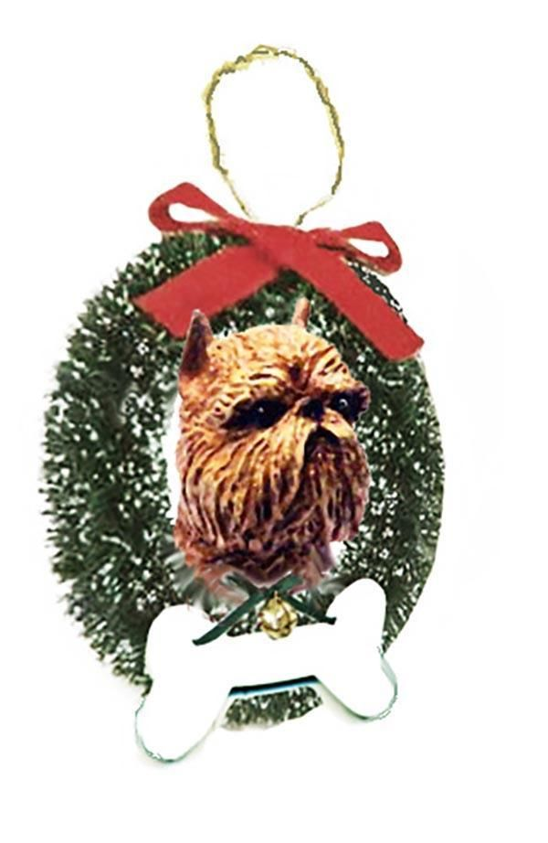 Brussels Griffon Wreath and Bone Ornament