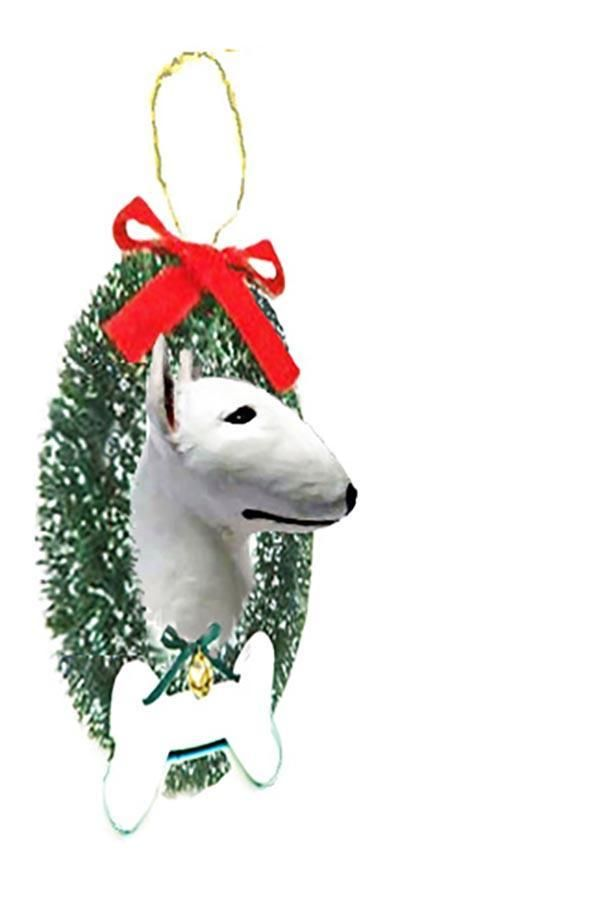 Bull Terrier Wreath and Bone Ornament