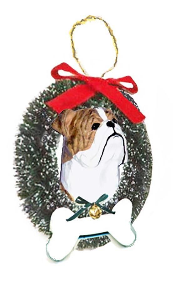 Bulldog Wreath and Bone Ornament