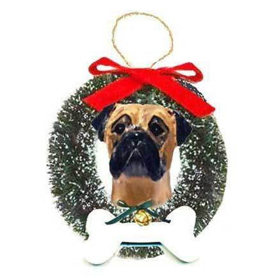 Bullmastiff Wreath and Bone Ornament