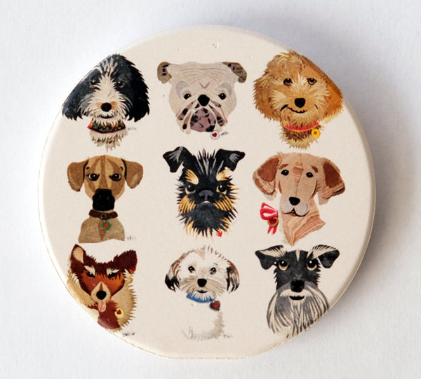 Reed Evins Dog Collage Car Coaster Set