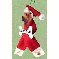 Chinese Shar-Pei Santa Bone Ornament