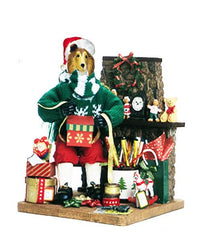 Collie, Rough Santa Gift Wrapper Statue