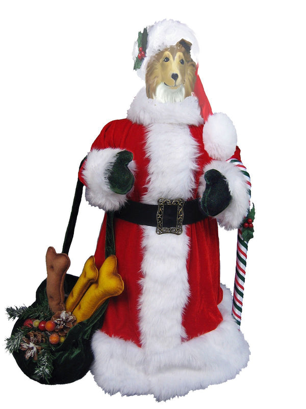 Collie, Rough, Large Santa Statue