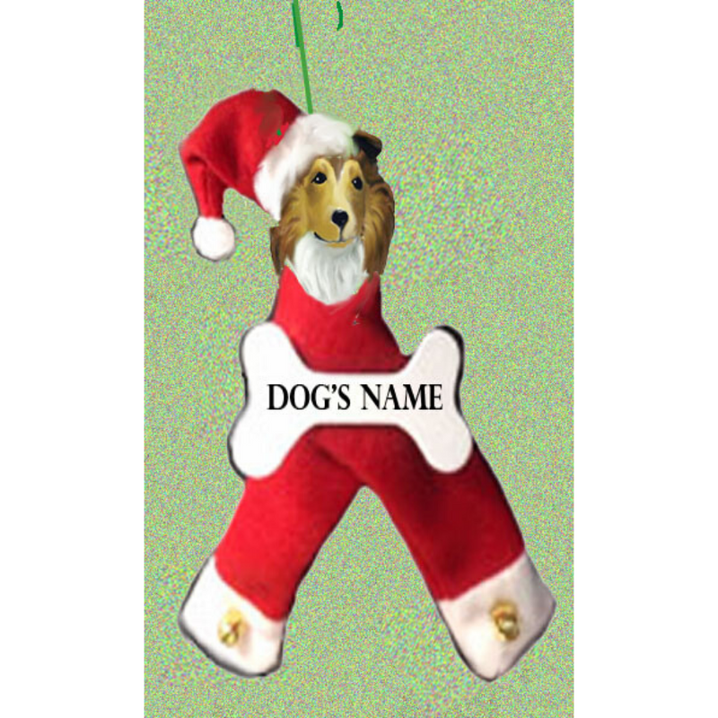 Collie, Rough, Santa Bone Ornament
