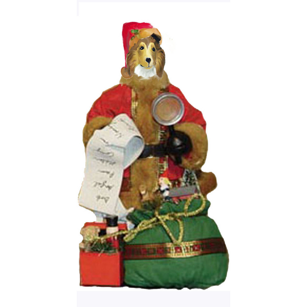 Collie, Rough, Toy List Santa Statue