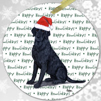 "Curly Coated Retriever ""Happy Howlidays"" Ornament"