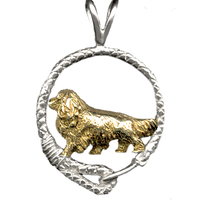 Solid 14K Gold Cavalier King Charles Spaniel in Sterling Silver Leash Pendant