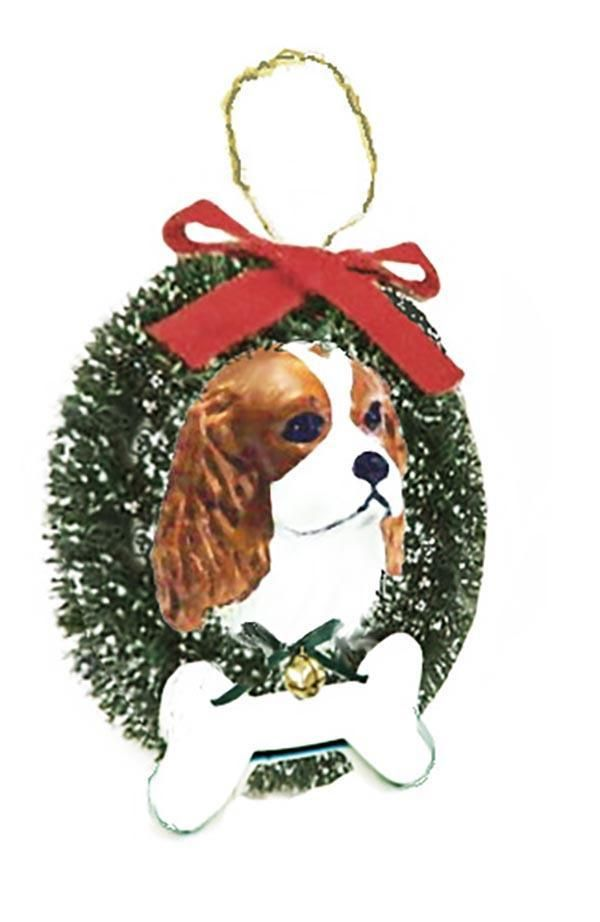 Cavalier King Charles Spaniel Wreath and Bone Ornament