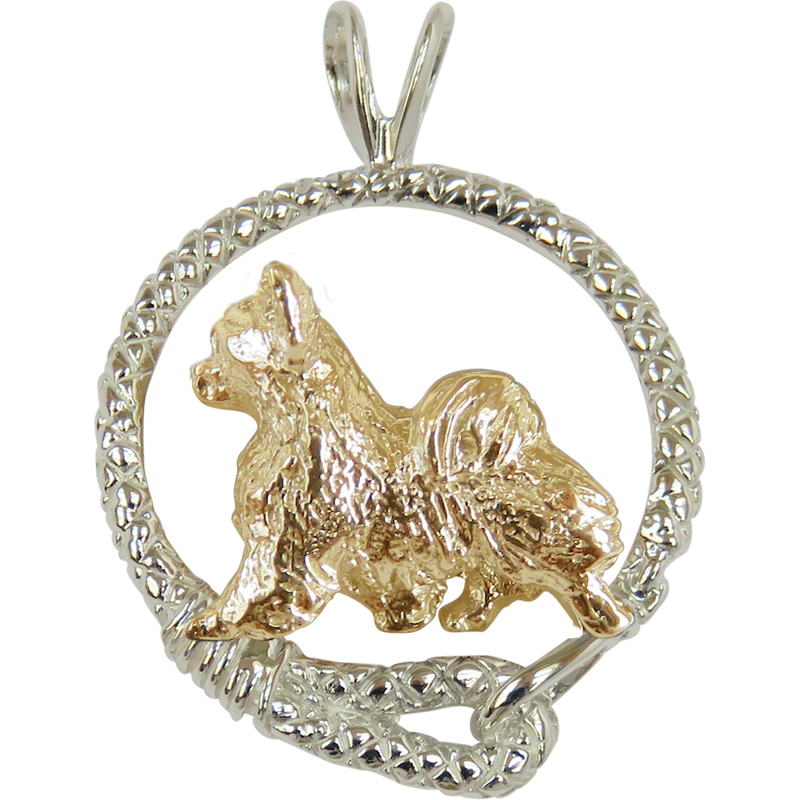 Solid 14K Gold Long Coat Chihuahua in Sterling Silver Leash Pendant
