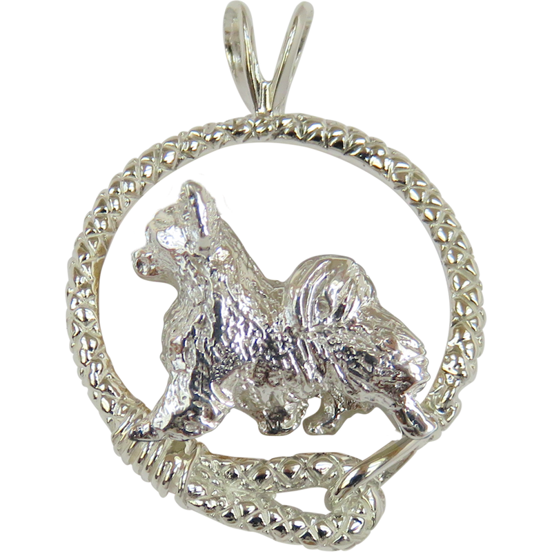 Long Coat Chihuahua in Solid Sterling Silver Leash Pendant