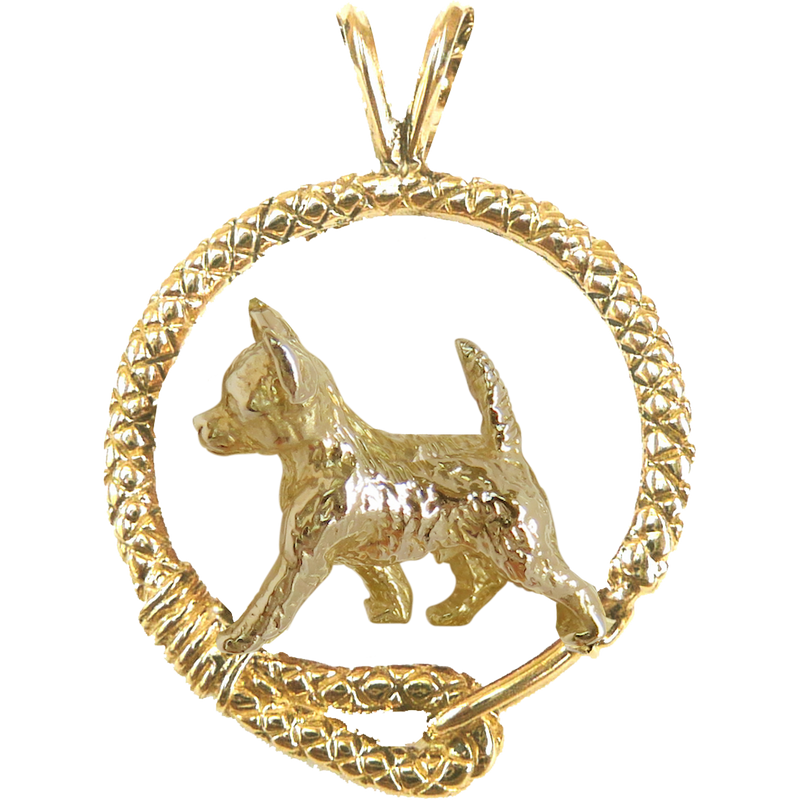 Solid 14K Gold Smooth Coat Chihuahua Leash Pendant