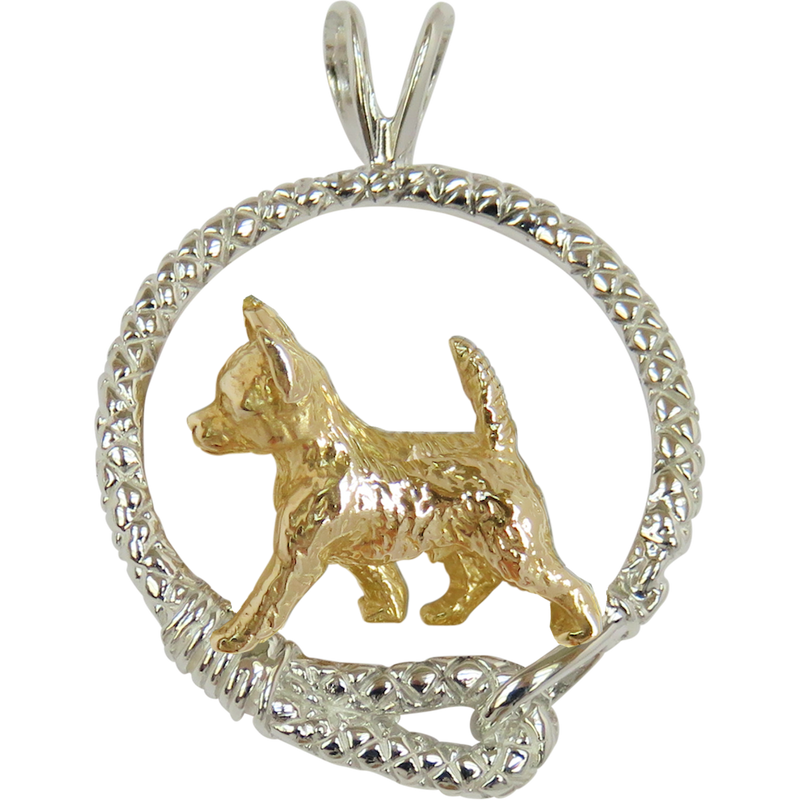 Solid 14K Gold Smooth Coat Chihuahua in Sterling Silver Leash Pendant