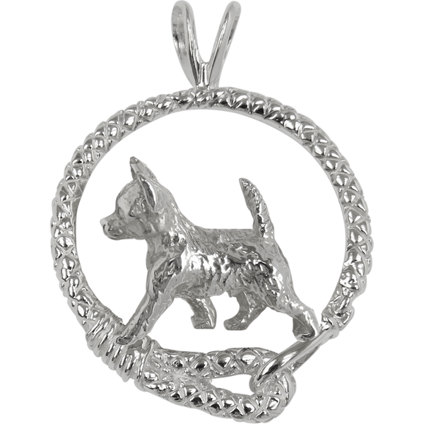 Smooth Coat Chihuahua in Solid Sterling Silver Leash Pendant