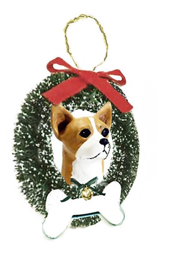Chihuahua, Smooth, Wreath and Bone Ornament