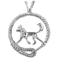 Chinese Crested Dog in Solid Sterling Silver Leash Pendant