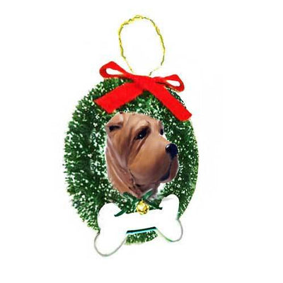 Chinese Shar-Pei Wreath and Bone Ornament