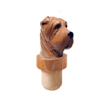 Chinese Shar-Pei Head Cork Bottle Stopper