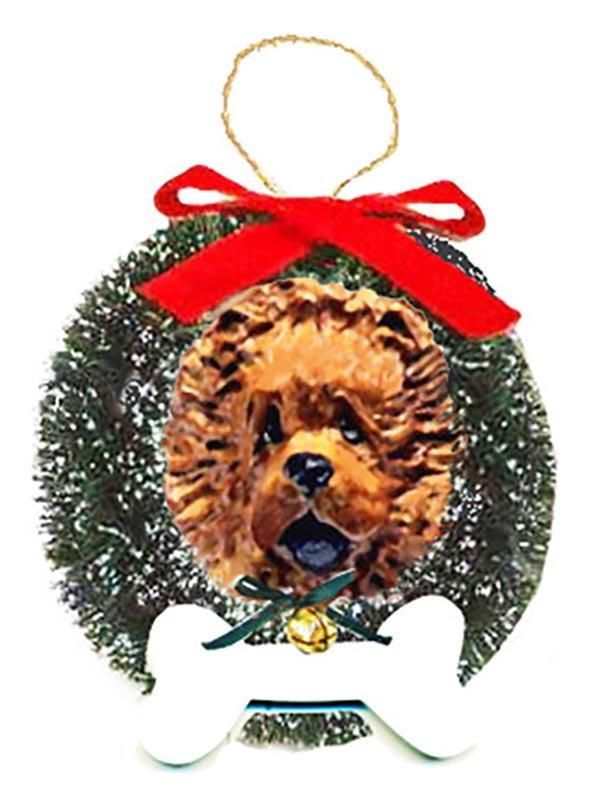 Chow Chow Wreath and Bone Ornament