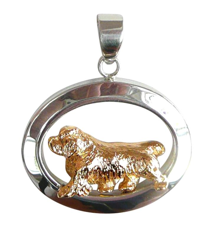 Clumber Spaniel Sterling & 14k Gold Jewelry