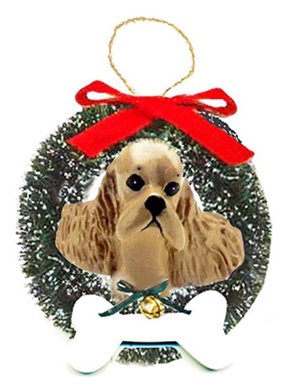 Cocker Spaniel Wreath and Bone Ornament