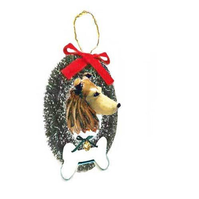 Collie, Rough, Wreath and Bone Ornament