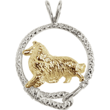 Solid 14K Gold Rough Coat Collie in Sterling Silver Leash Pendant