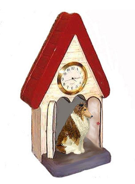 Collie, Rough, Figurine Clock