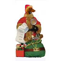 Dachshund, Longhaired, Toy List Santa Statue