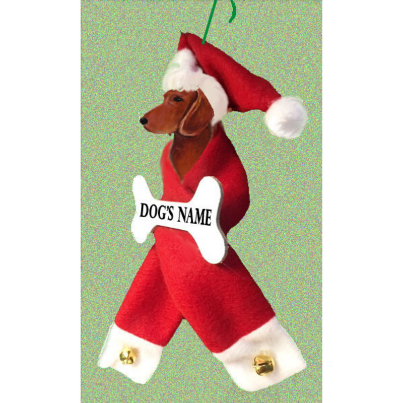 Dachshund, Smooth, Santa Bone Ornament