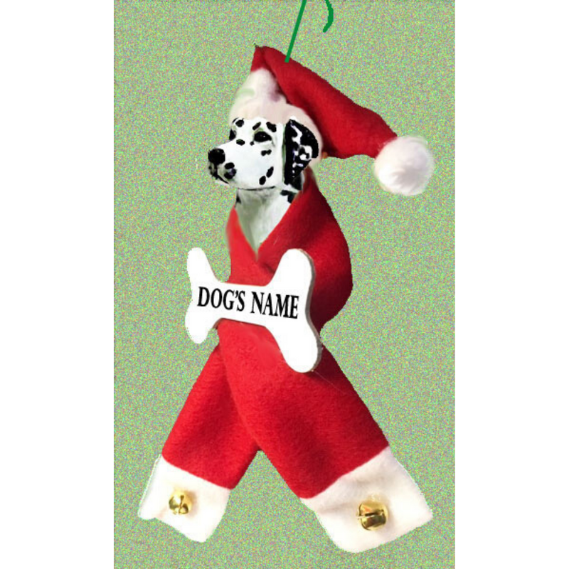Dalmatian Santa Bone Ornament
